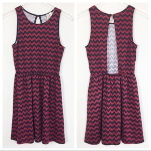 Francescas red navy chevron stripe open back dress